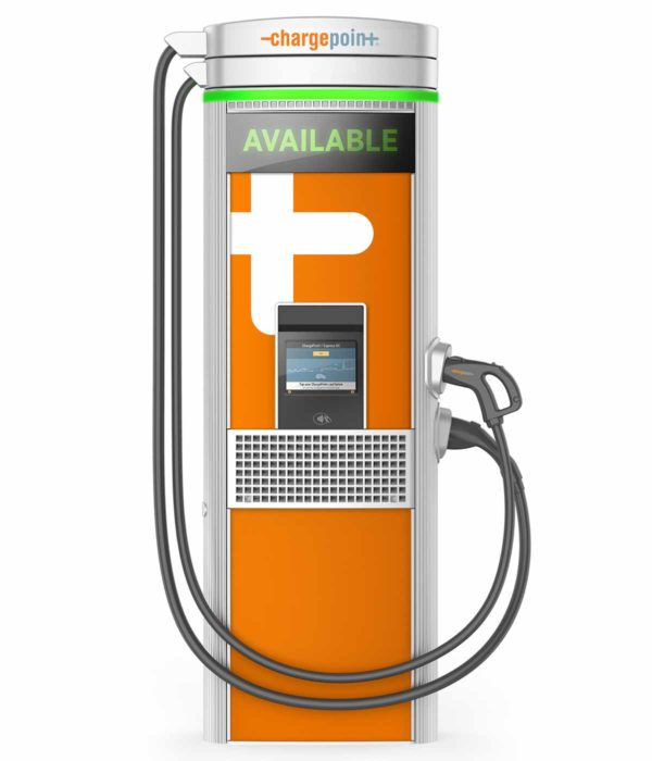 ChargePoint Express Plus Level 3 Commercial Electric Car Charging Station showing the front view