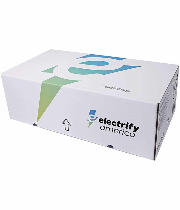 electrify america electric car charger EVSE - view of product packaging